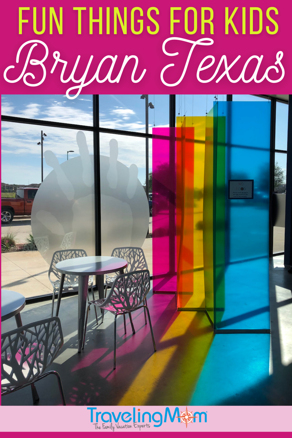 rainbow colored glass windows with text reading fun things for kids in bryan texas