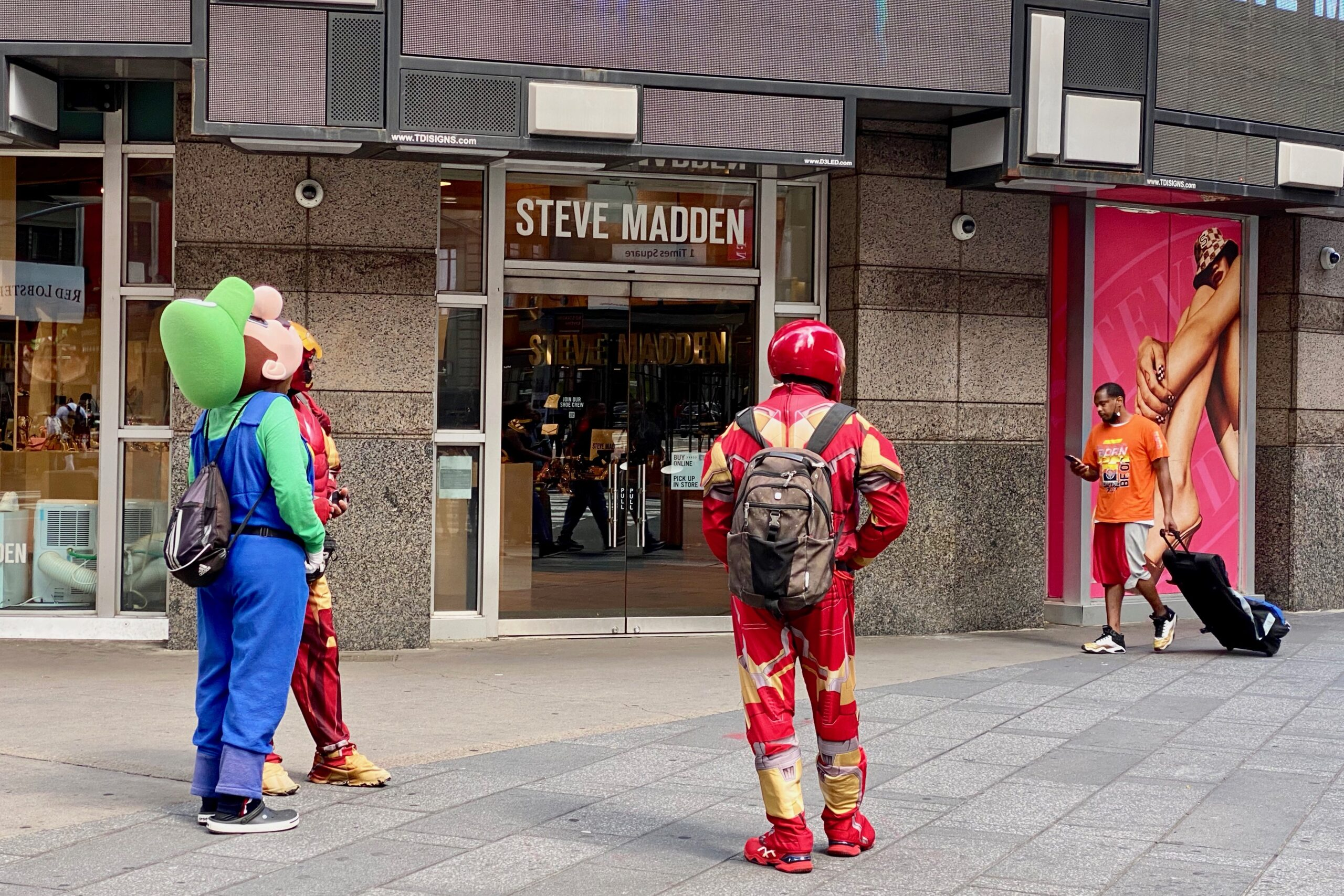 Costumed characters in Times Square in midtown Manhattan