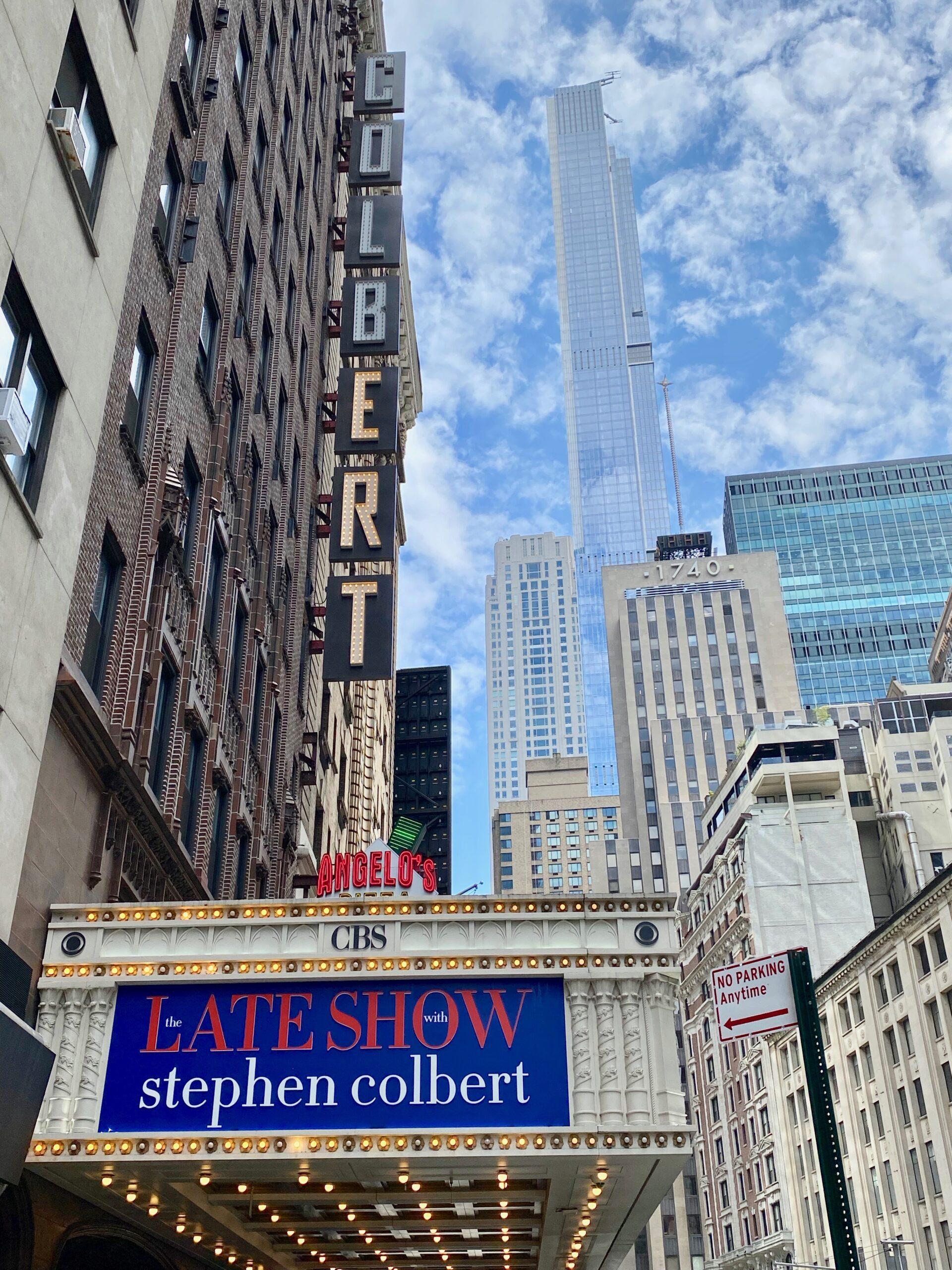 facade of the Ed Sullivan theater home to the Late Show with Stephen Colbert in NYC