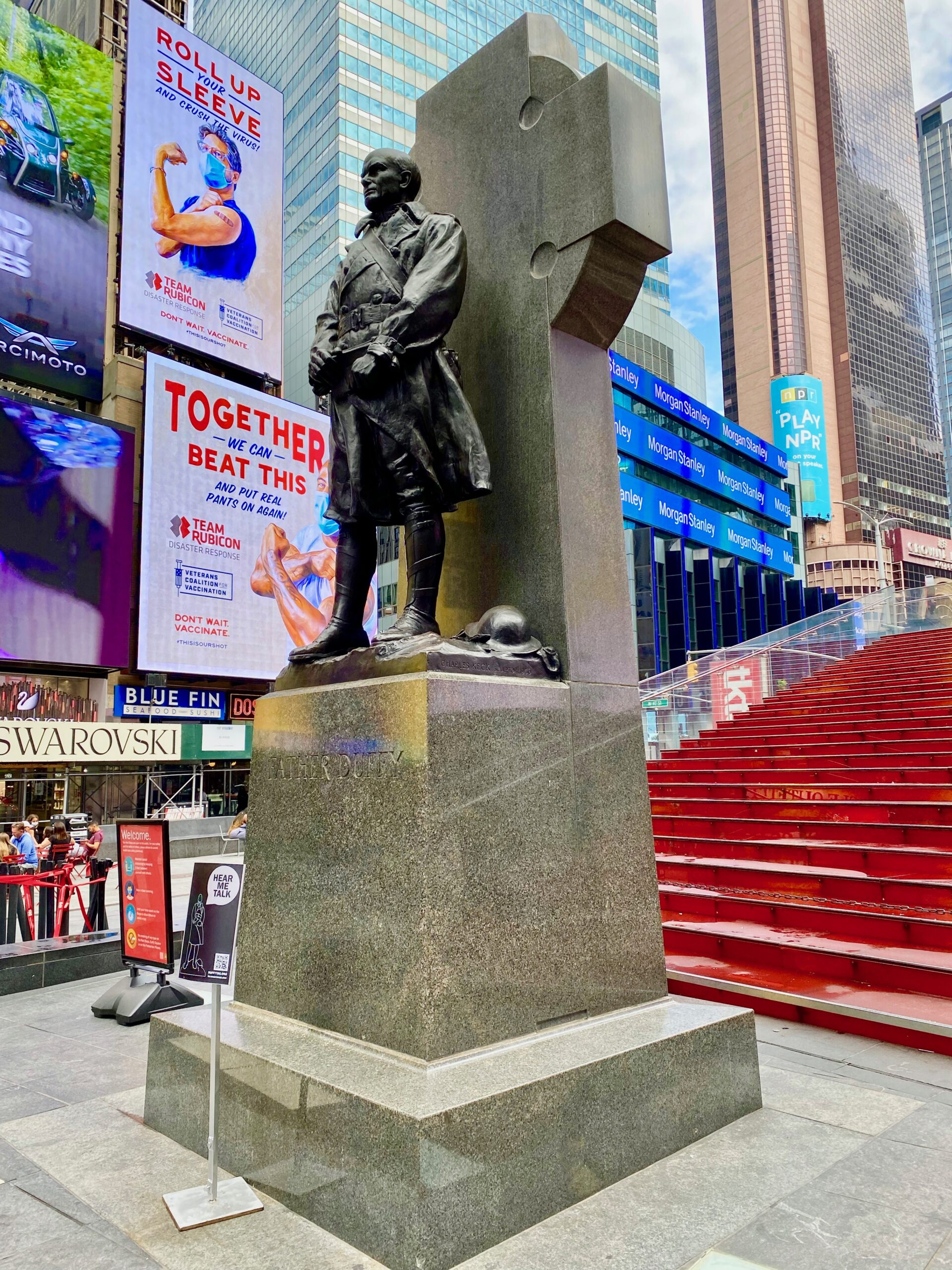 Statue of Father Duffy, one of the fun things to see in Times Square with kids