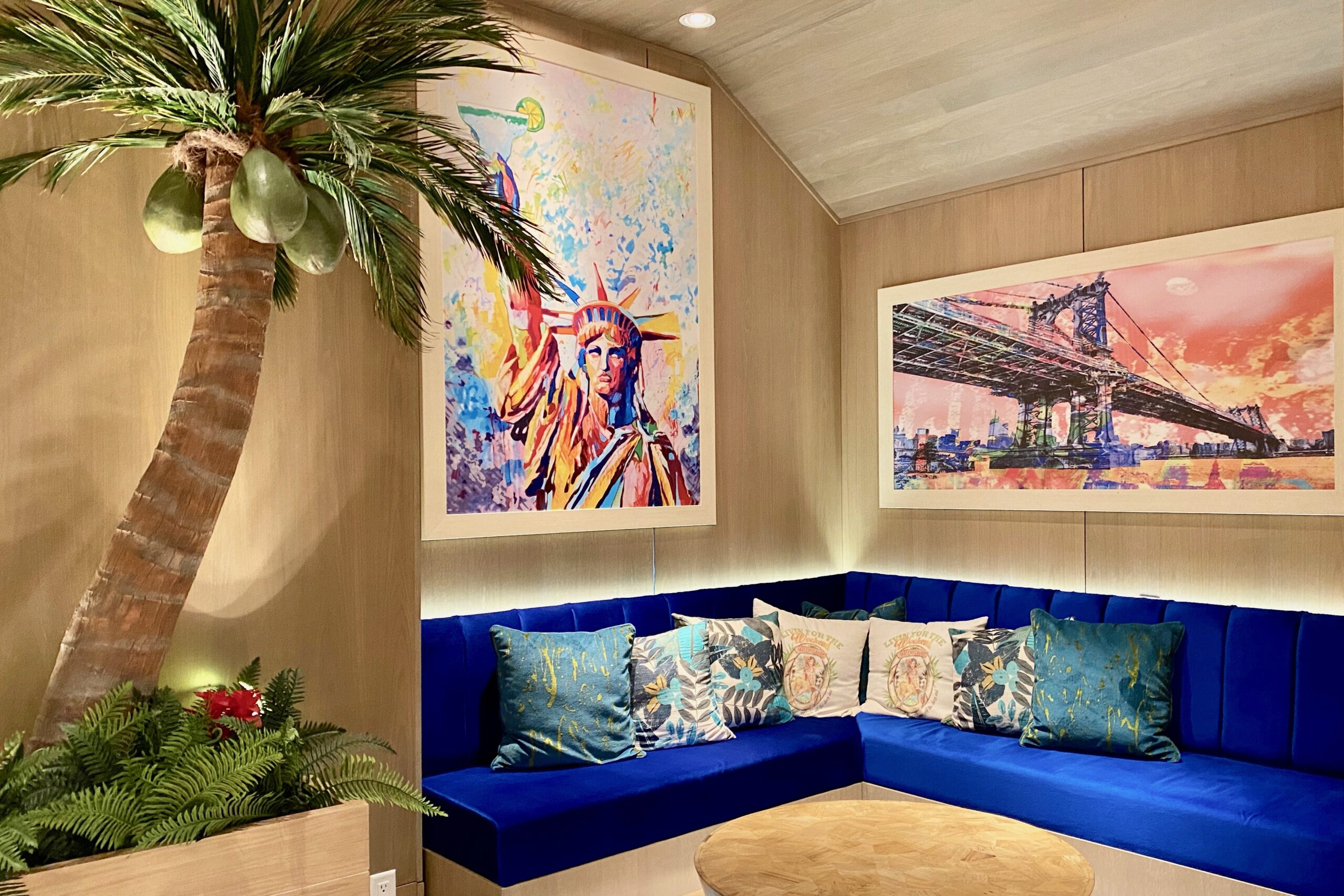 Tropical interior at the new Margaritaville Times Square resort in NYC