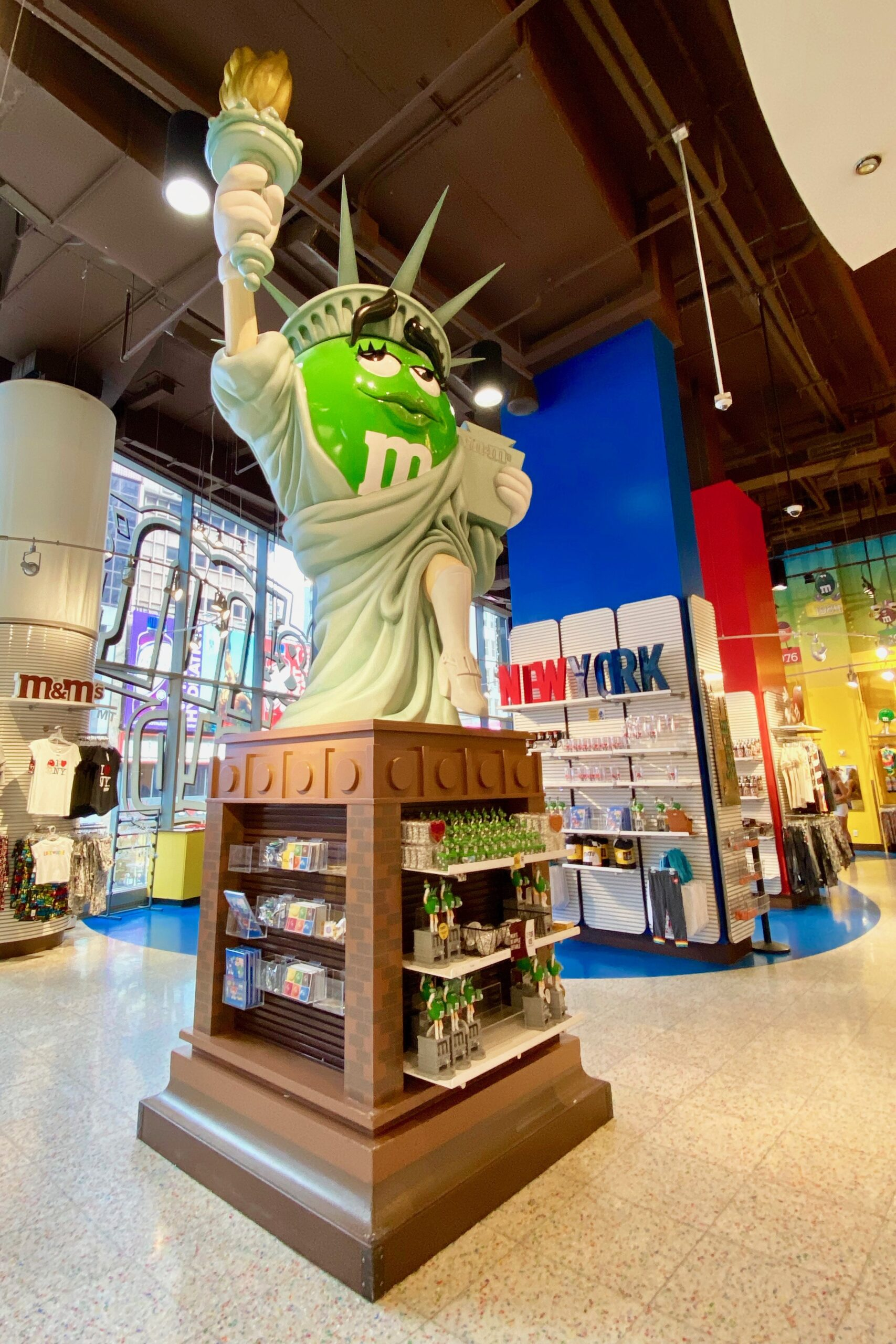 M&M dressed as Statue of Liberty at M&M World in Times Square, one of the fun things to do with kids