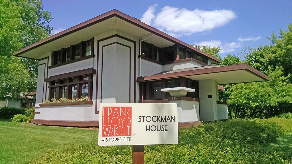 Facade of the Stockman House, one of the things to do in mason city iowa