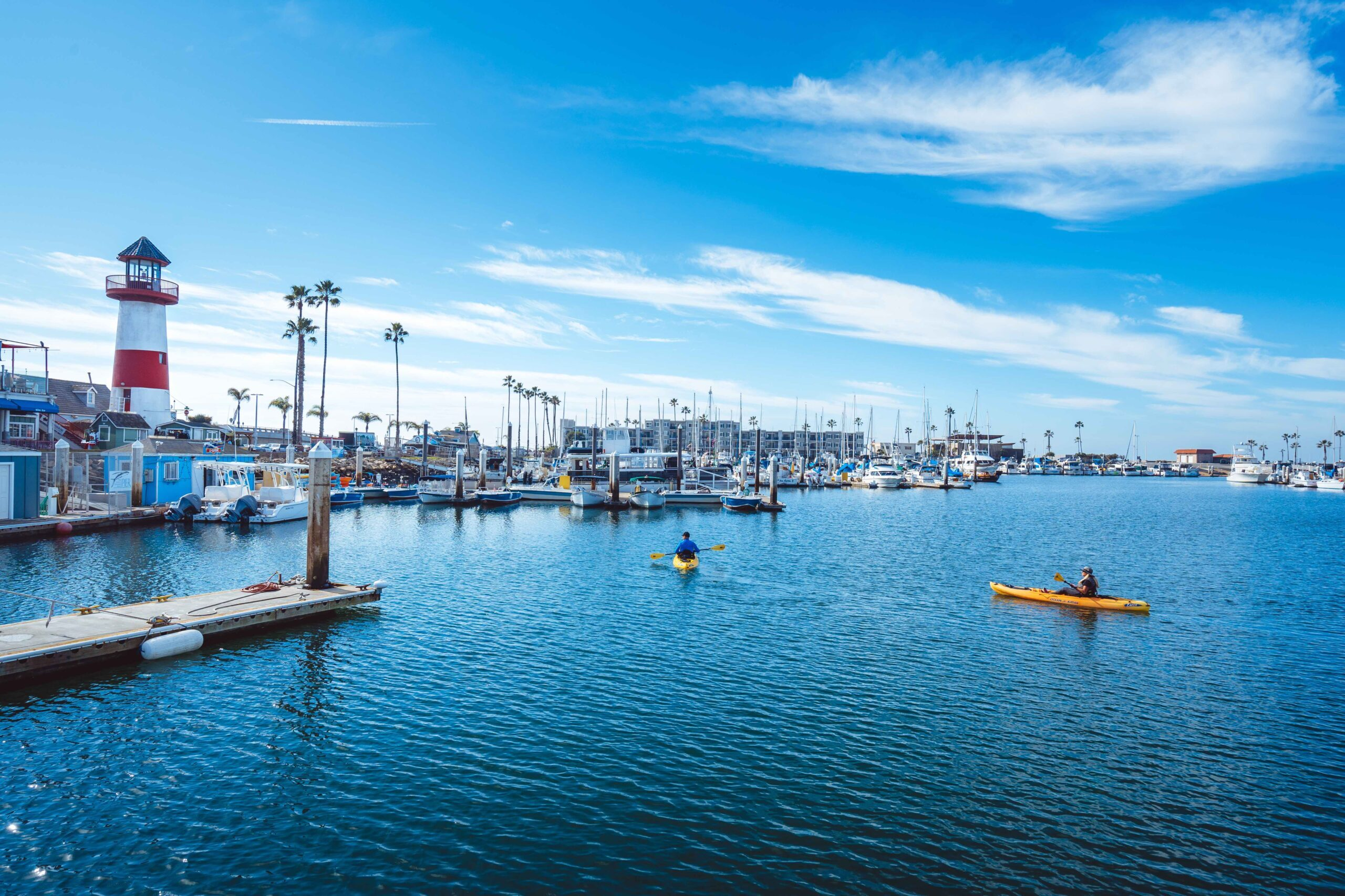 View of Harbor Village, one of the fun places to explore in Oceanside CA