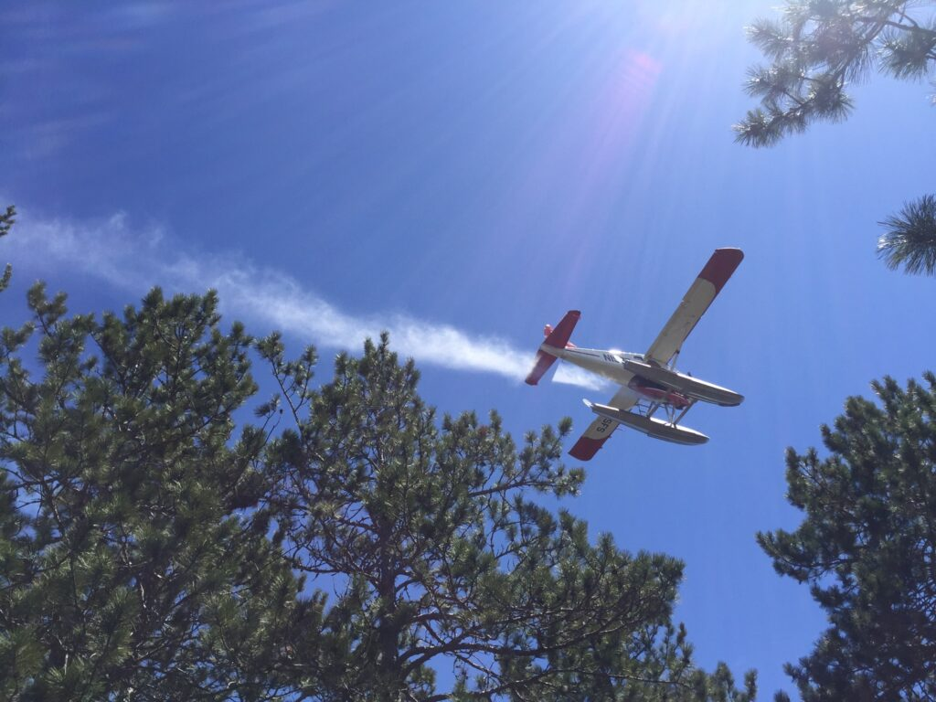 plane dropping water over a fire