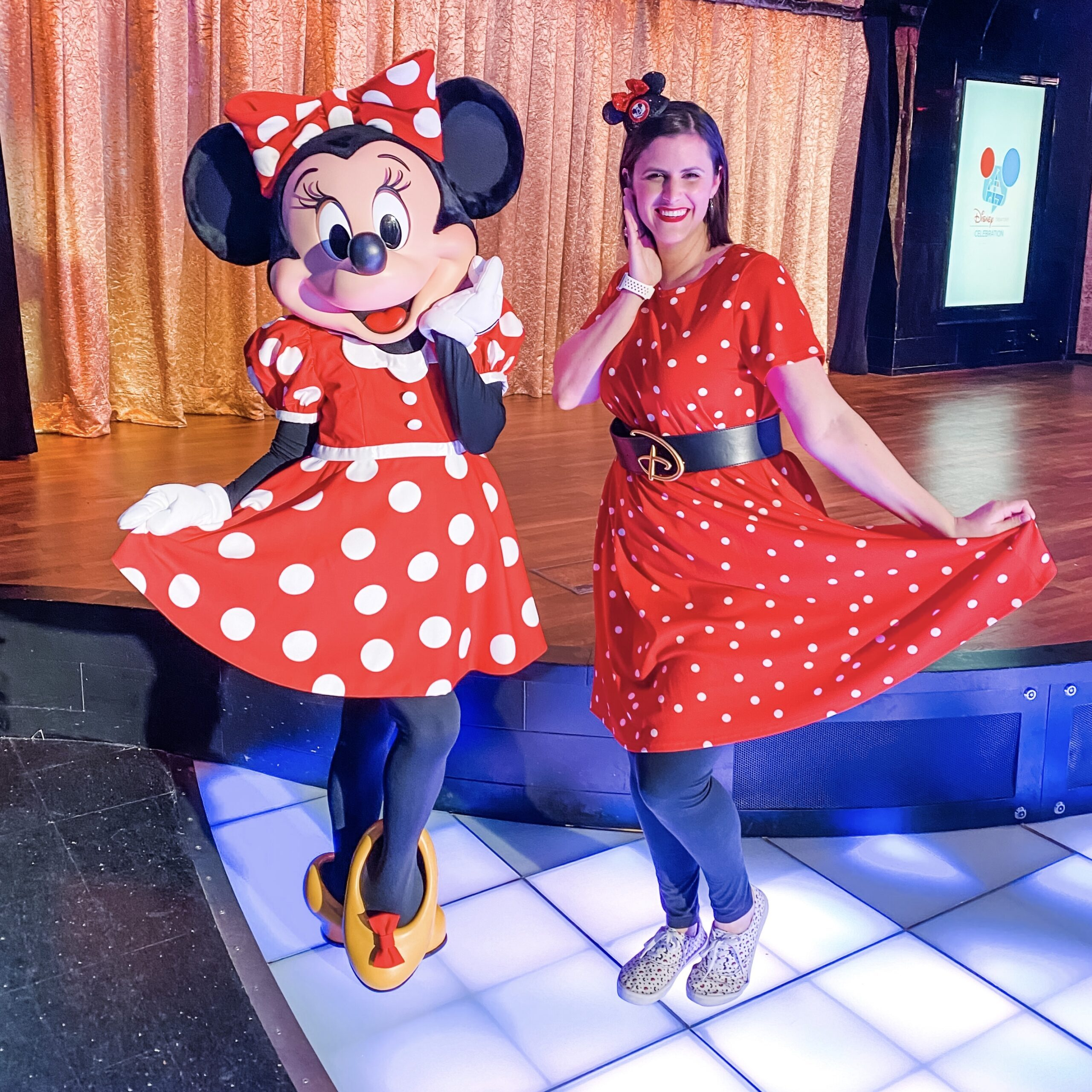 Polka dot, red dress for Disneybound outfit as Minnie Mouse