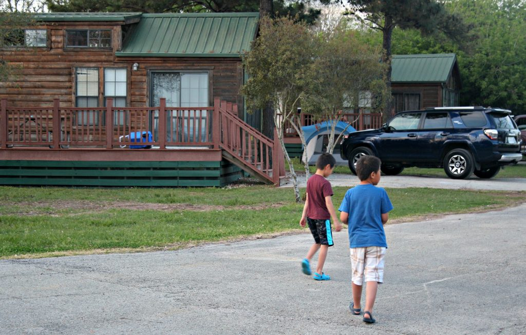 Two boys glamping in Texas