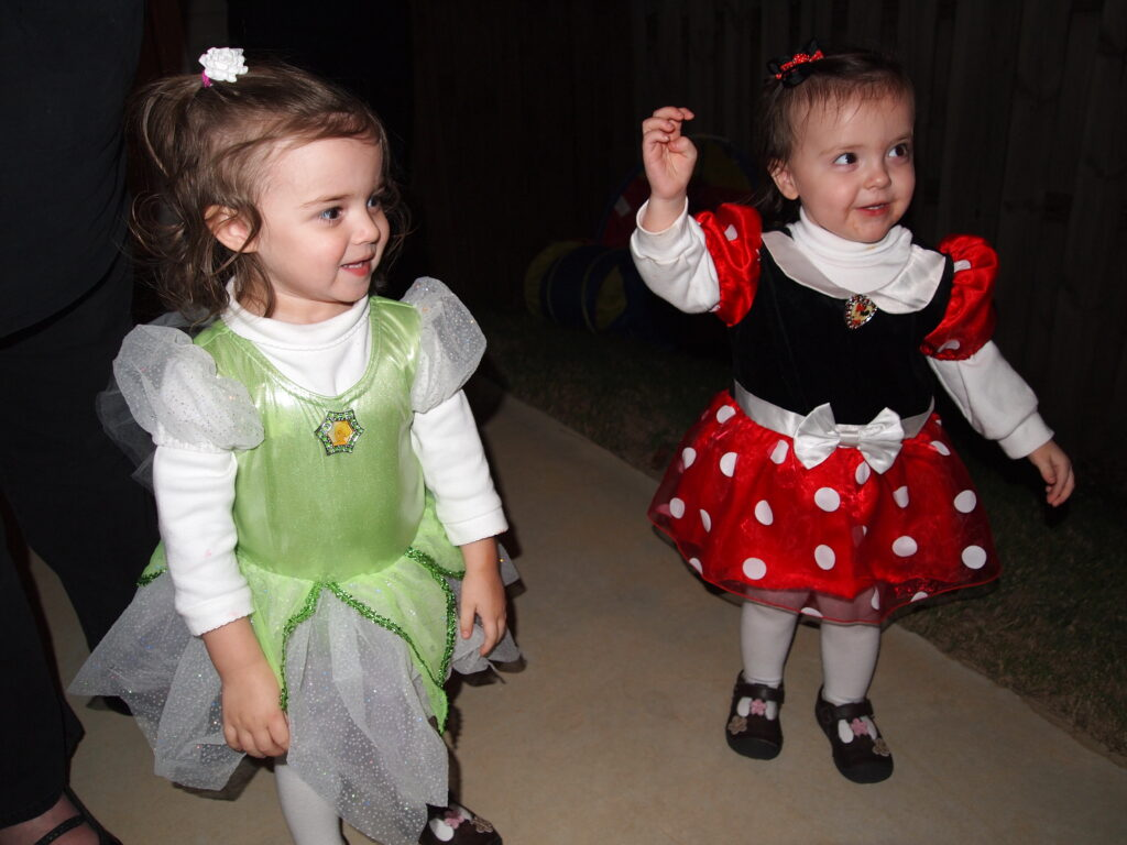 Tinker Bell and Minnie Mouse are classic Disney Halloween costumes.