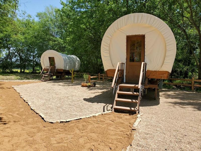 glamping in tx - Silver Spur Resort covered wagons