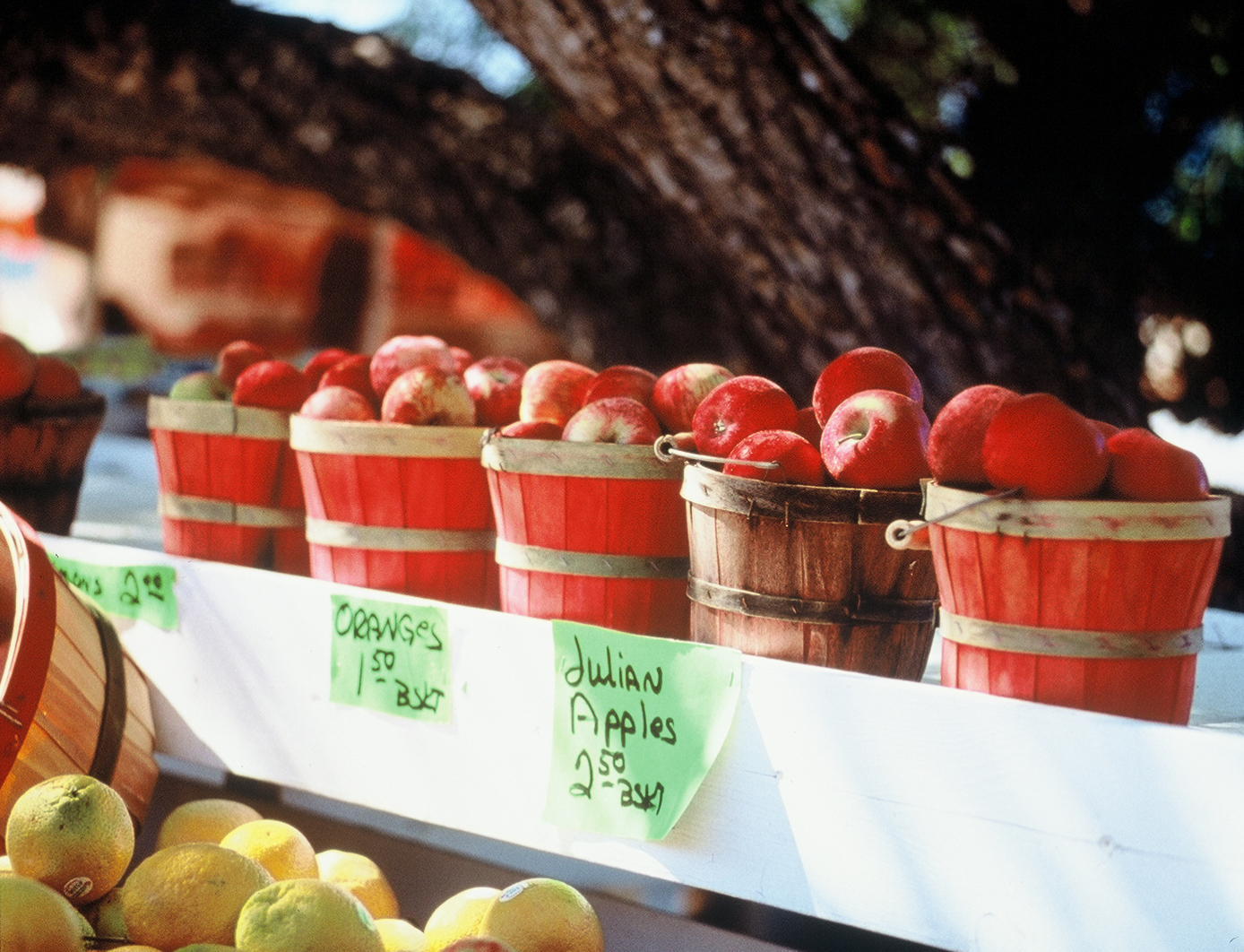 Bushels of apples for sale in Julian CA, a California destination with fall foliage