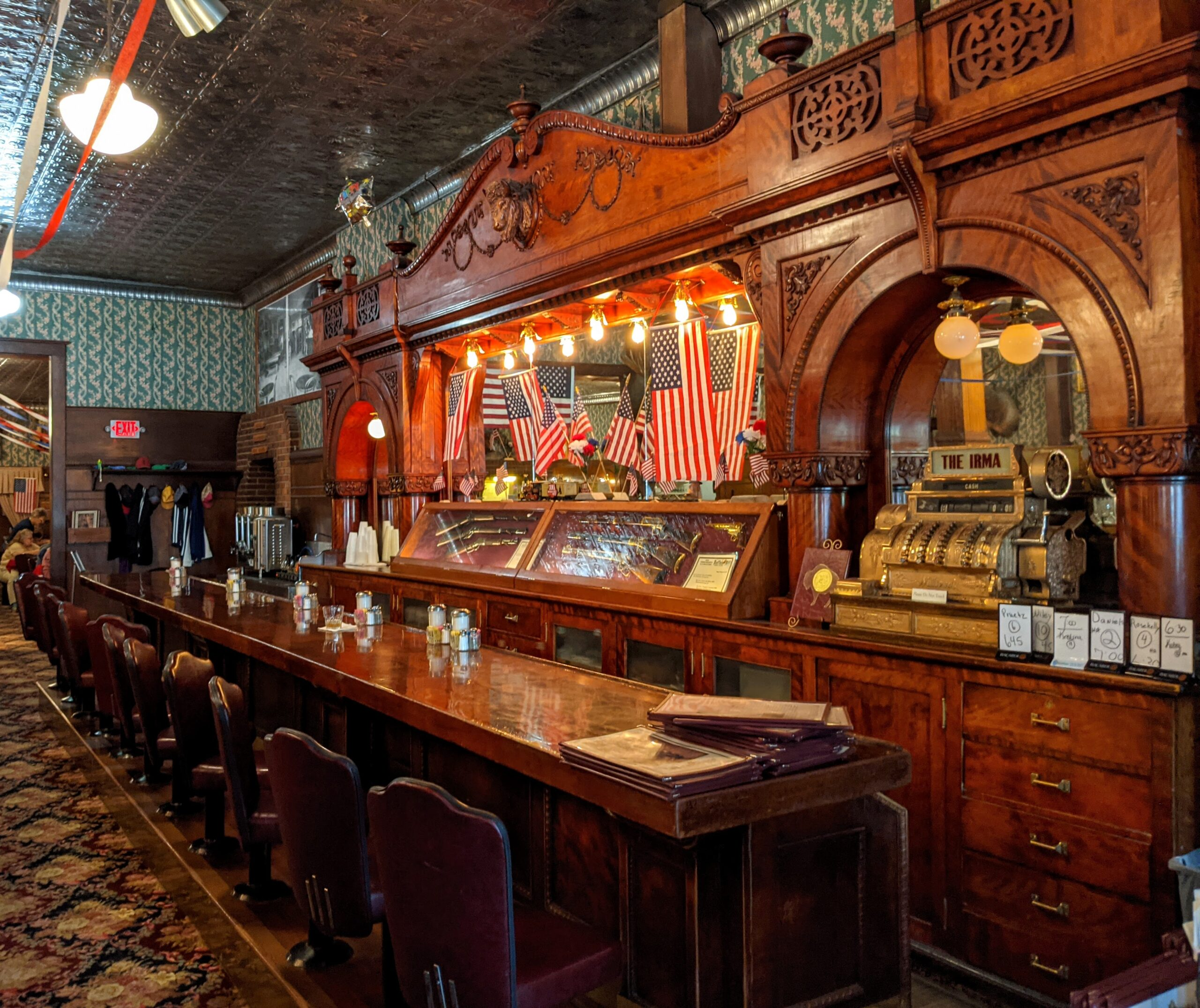 The bar at The Irma Hotel in Cody Wyoming