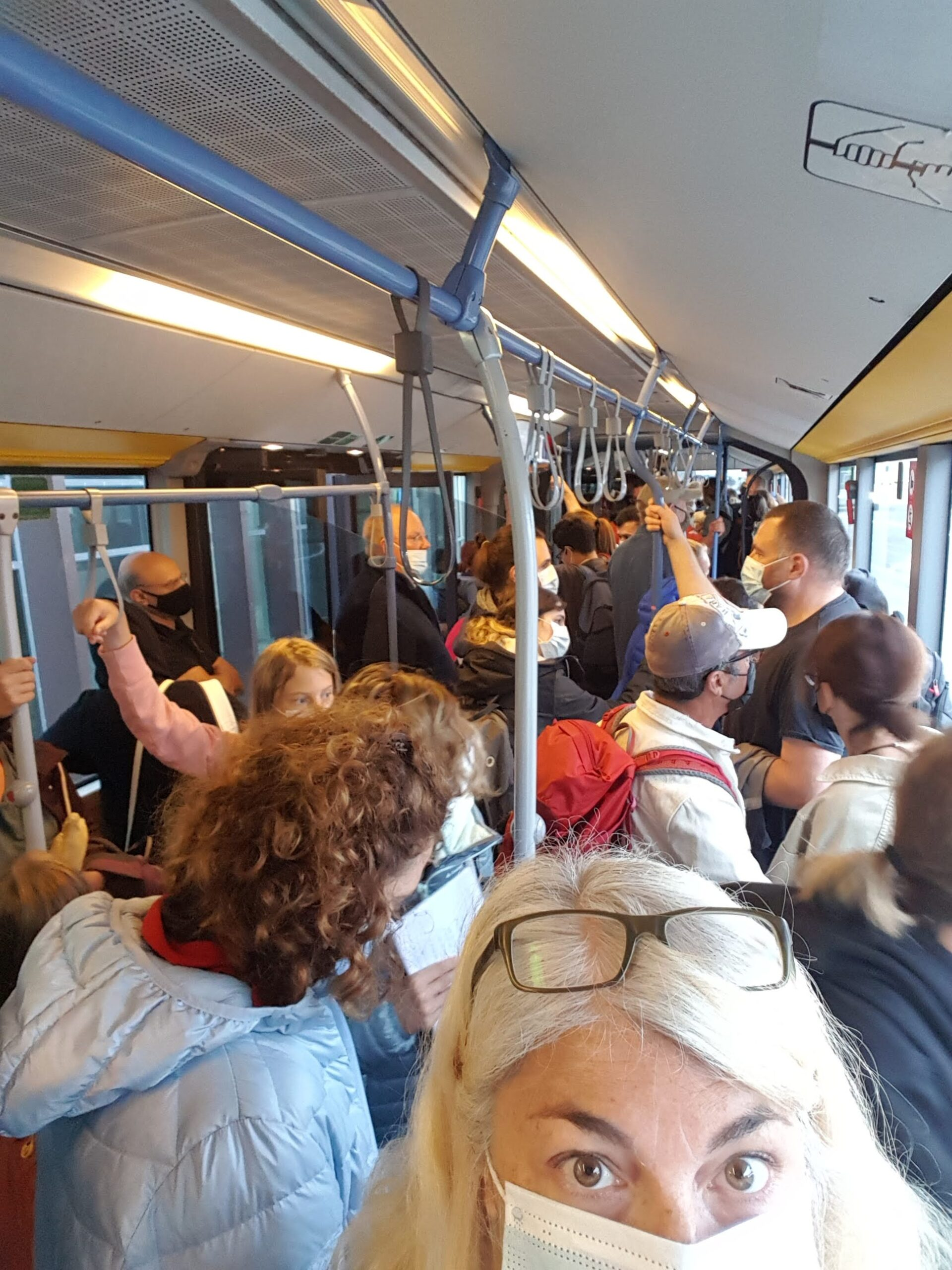 Lindblad cruise - On a crowded bus at Reykjavik airport. Too close for Covid comfort!