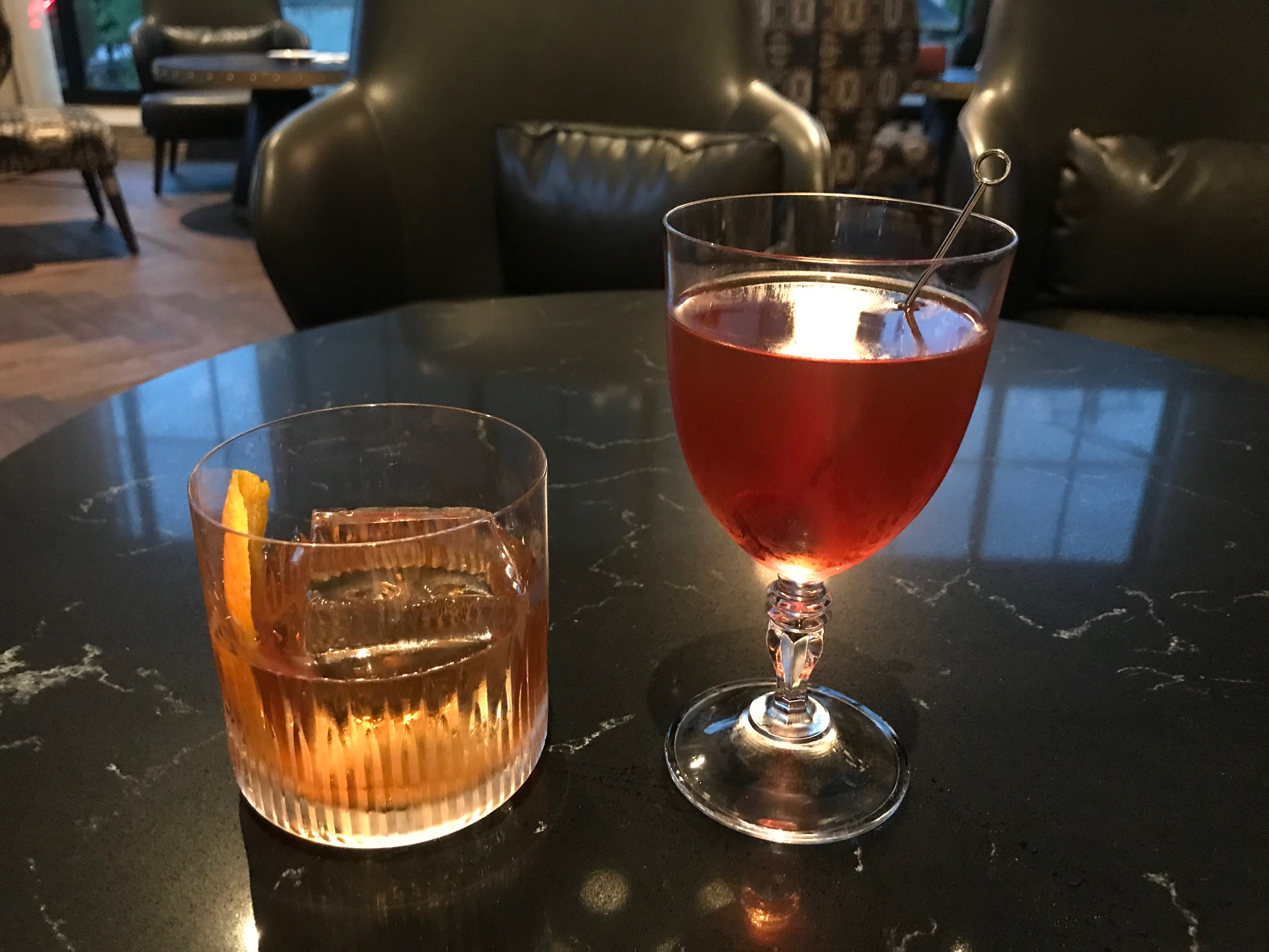 Two cocktails at O'Shaughnessy Distillery, a great place to drink in Minneapolis