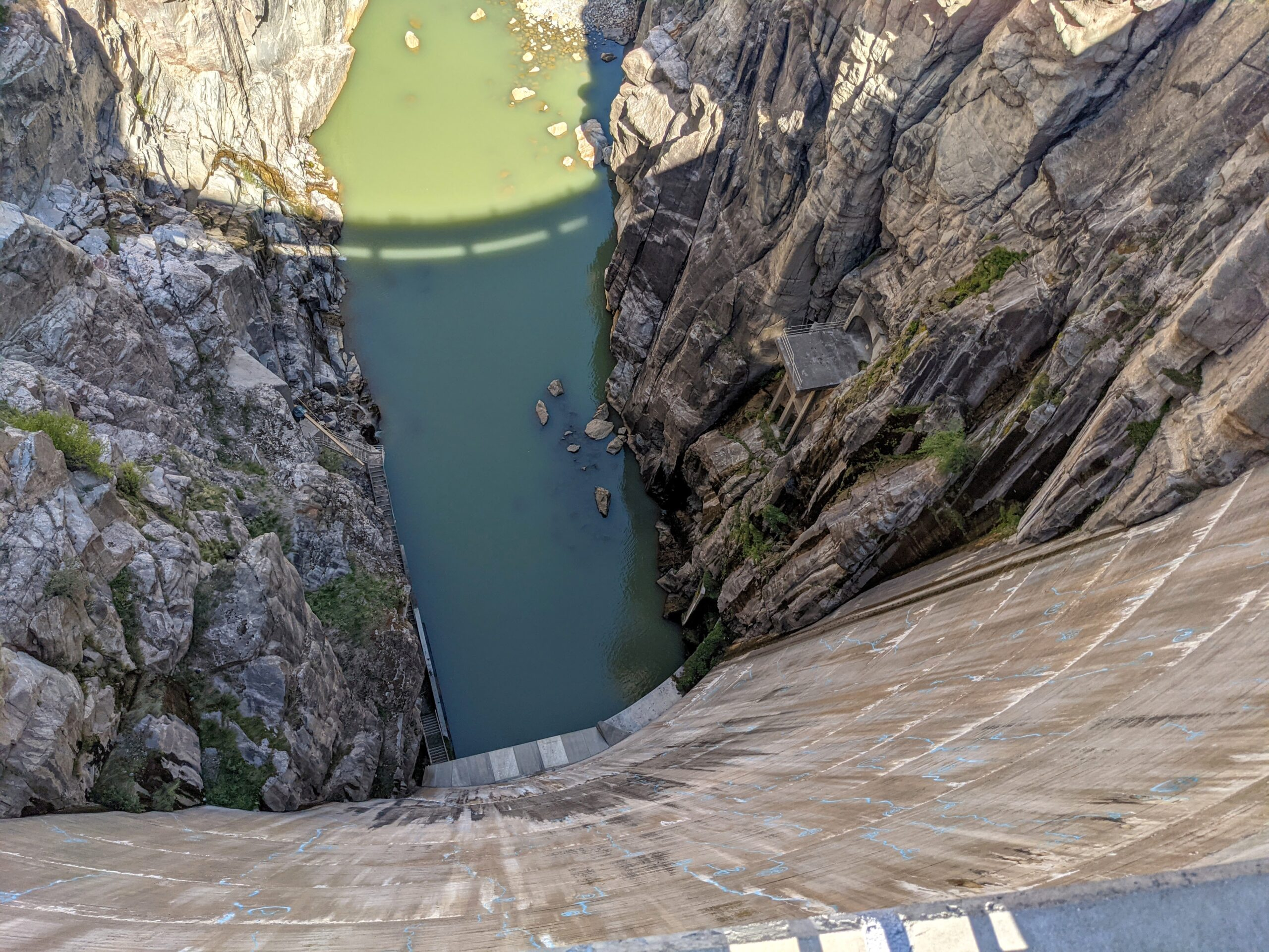 Looking down at the Buffalo Bill Dam in Cody Wyoming.