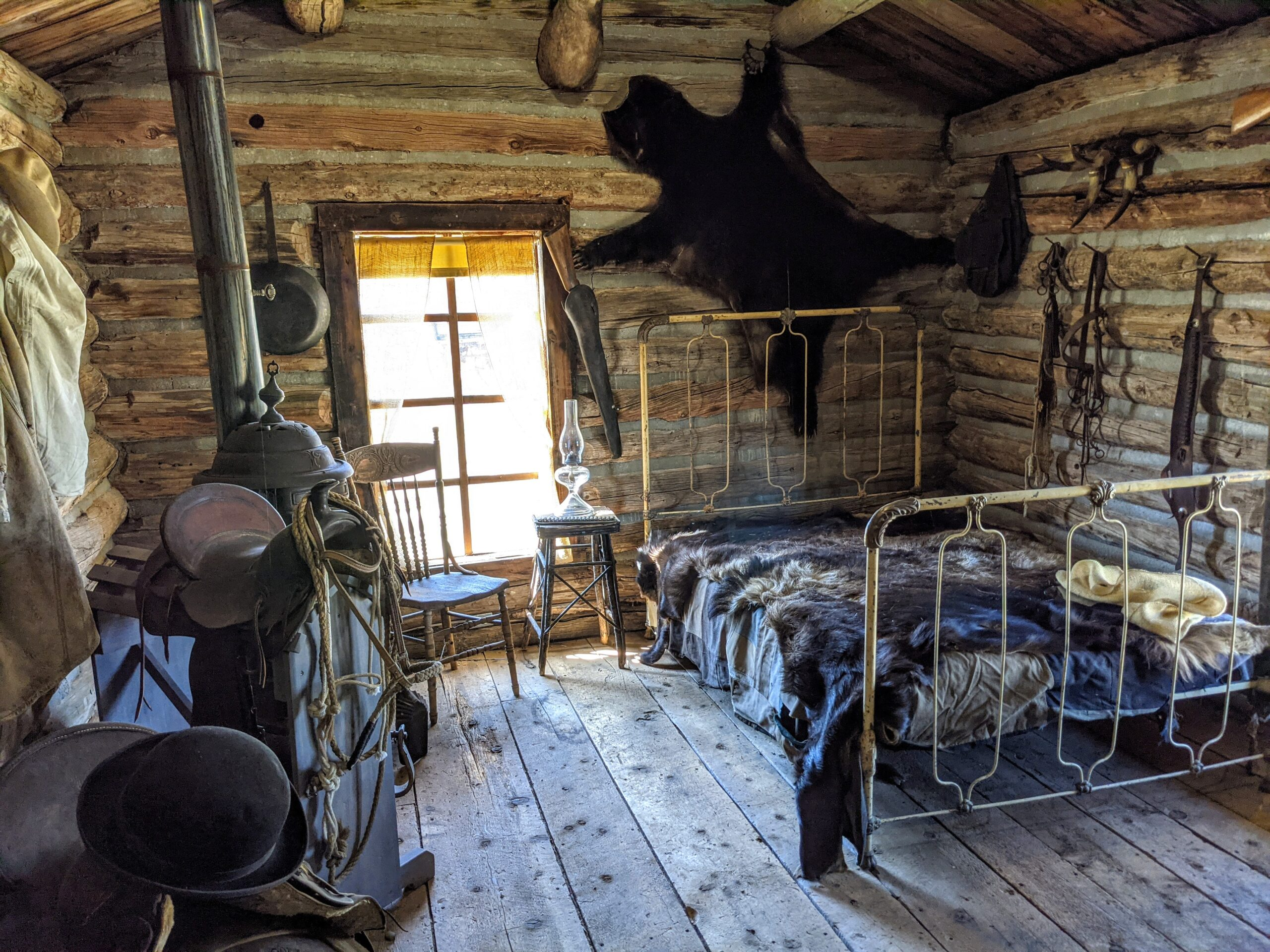 Interior of a cabin at Old Trail Town in Cody Wyoming