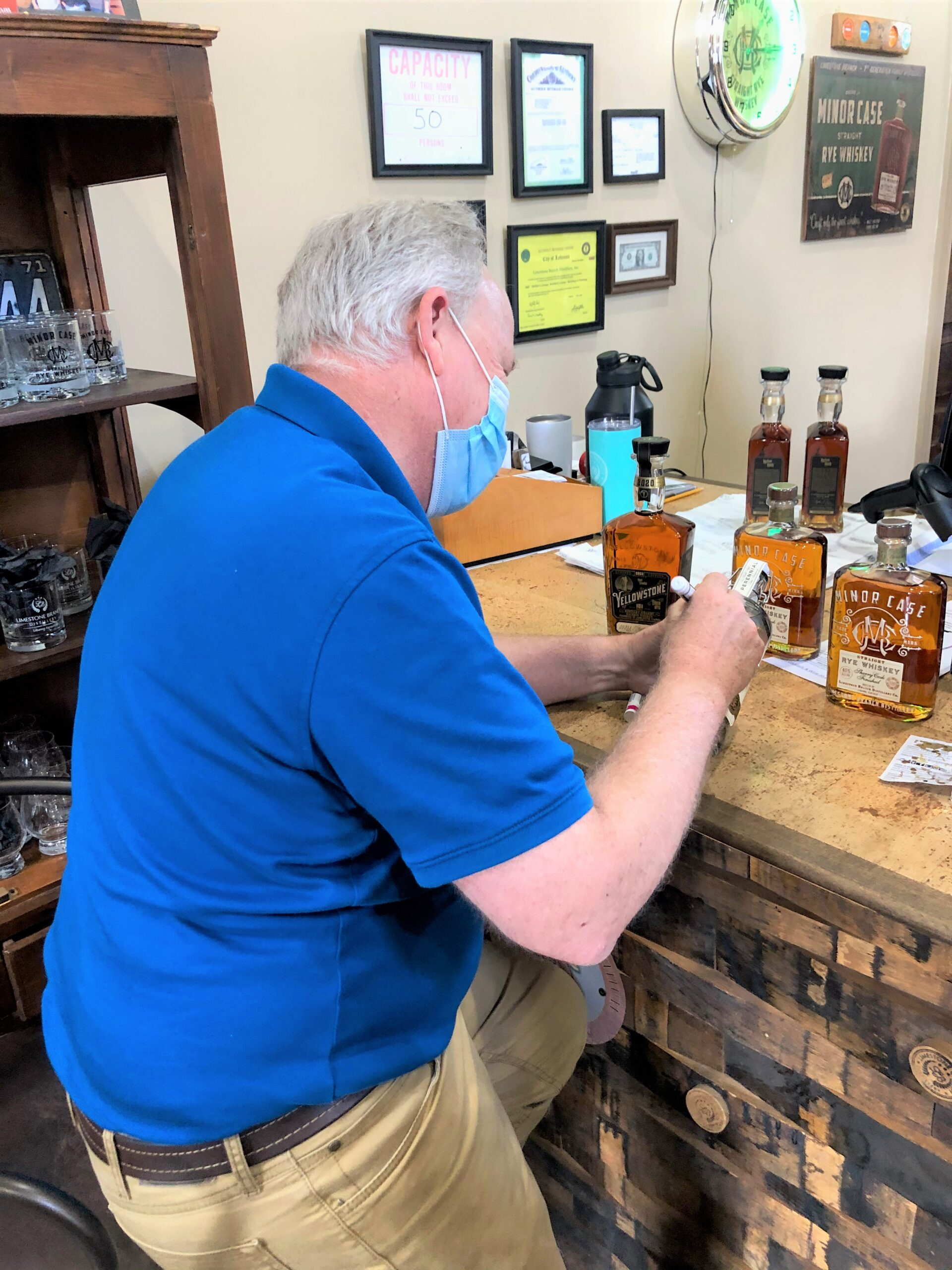 Small towns in KY - Steve Beams signing bottles at Limestone Branch in Lebanon