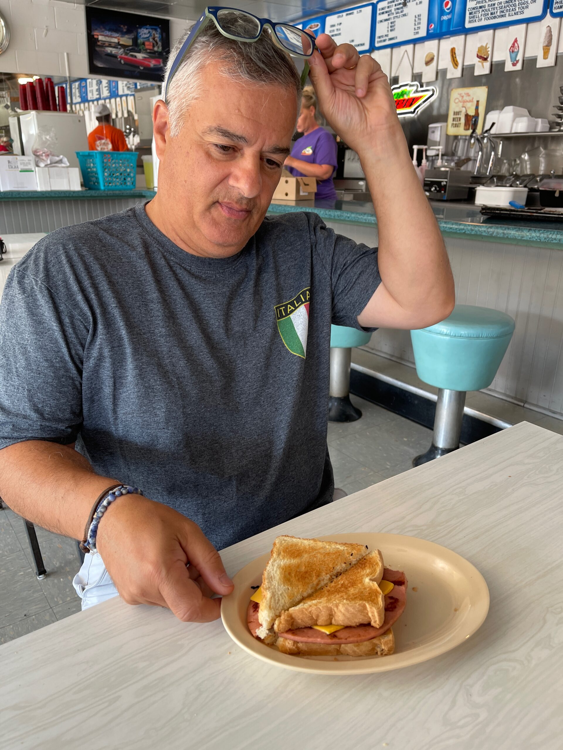 Small towns in KY - trying a fried bologna sandwich in Whitley City.