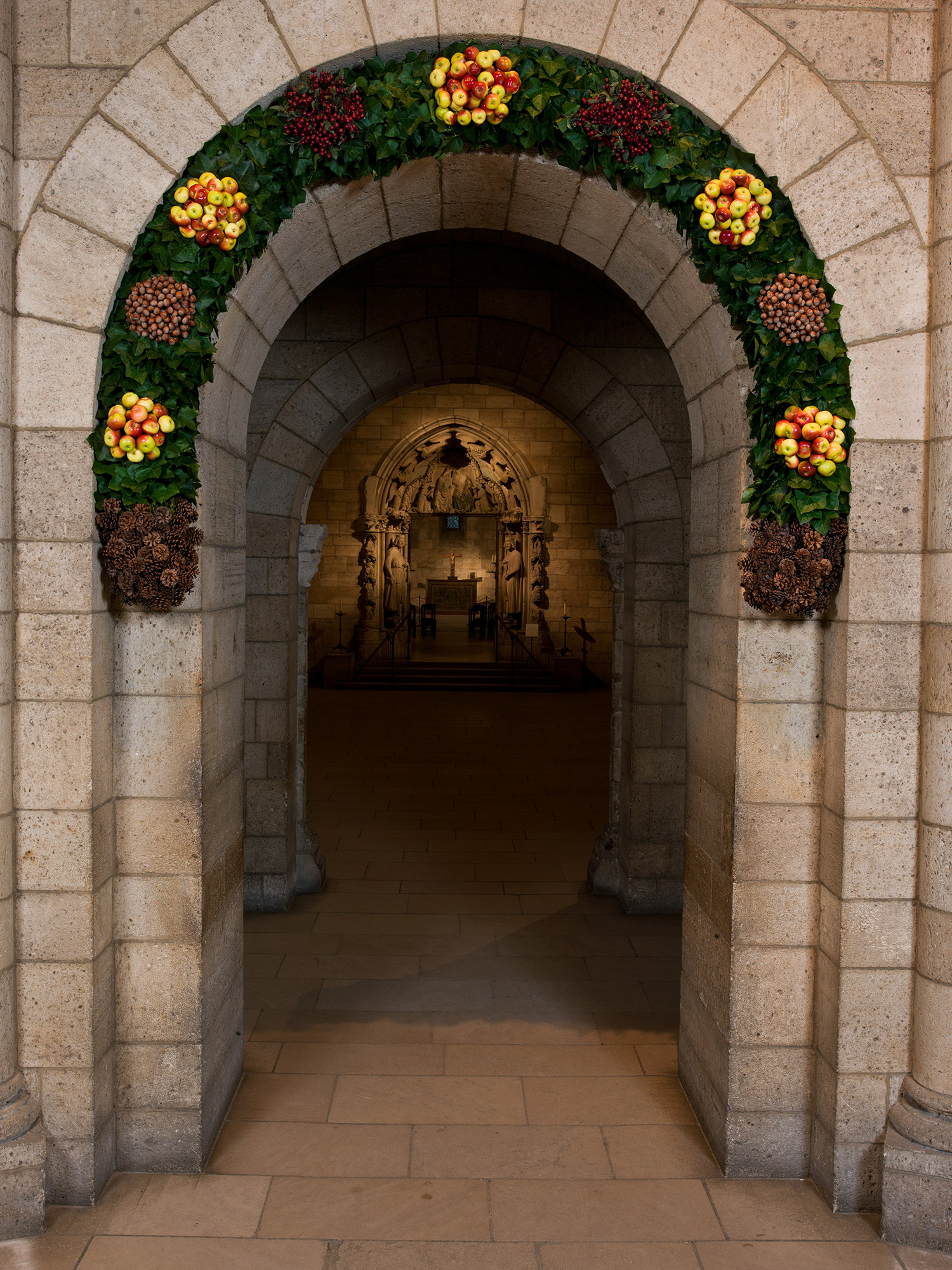 Decorated entry at The Cloisters during Christmas in NYC