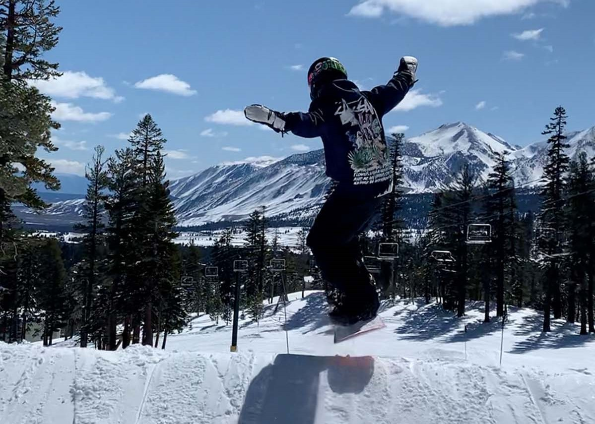 Best kids ski gear - catching air on the slopes of Mammoth Mountain