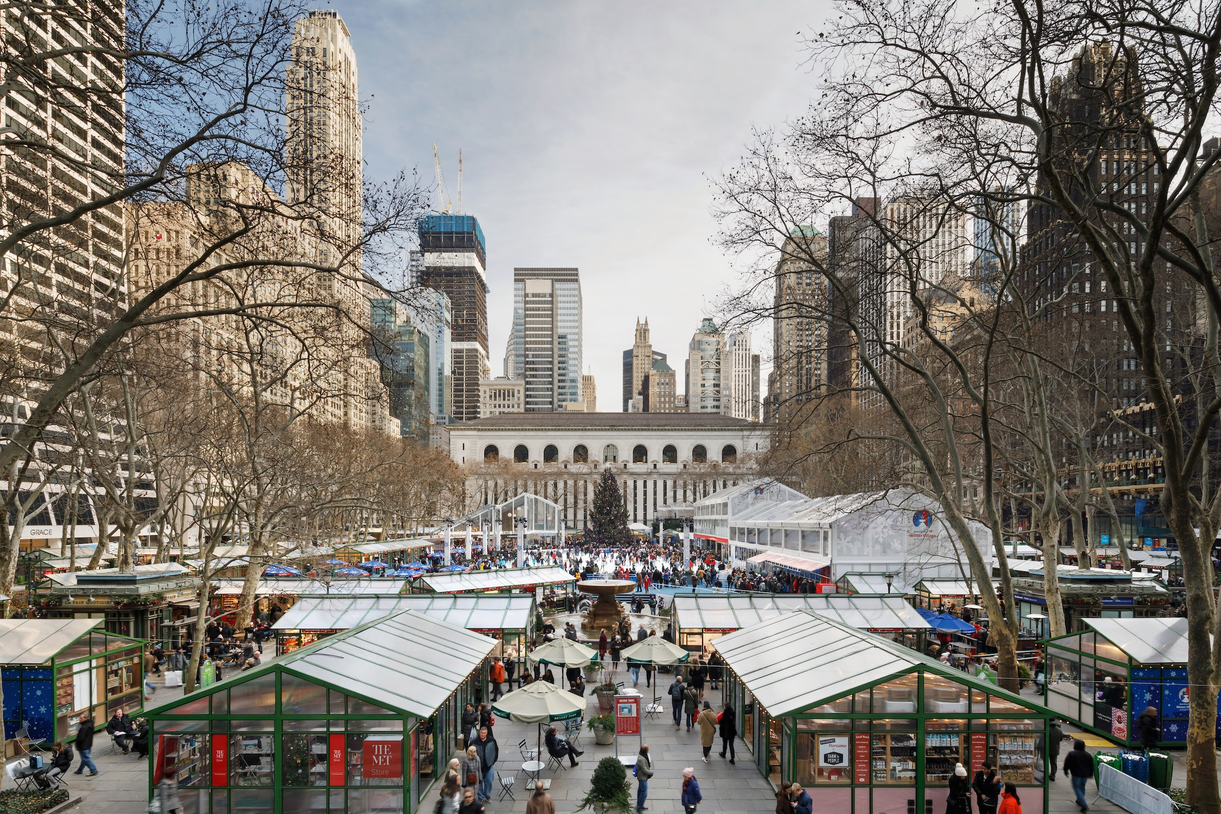 aerial view of Bank of America Winter Village in Bryant Park
