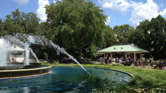 Philadelphia locals enjoy the free playground and fountain at Franklin Square