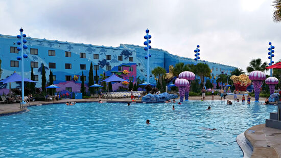 """One of the best Disney World pools is at the Art of Animation resort where you can Dive """"under the sea"""" and listen to underwater musi"""