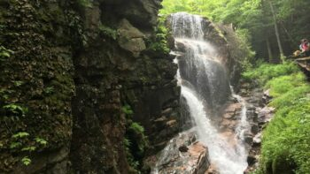 Waterfall seen during a fun family hike in New Hampshire