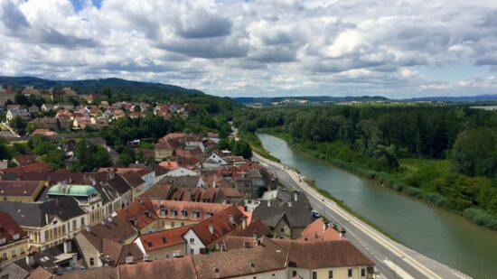 On our European river cruise, the view from Melk monastery