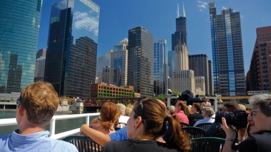 The Chicago Architecture Foundation boat tour of the city architecture along the Chicago River.