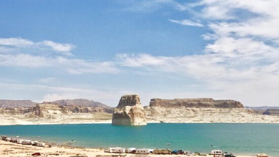 One of the things to do in Page AZ and Lake Powell with kids is to do go camping on the beach!