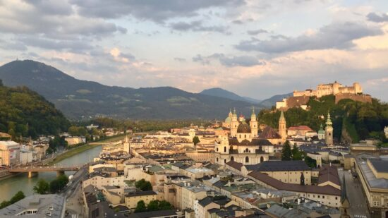 Salzburg in a day includes this panoramic view of the city and fortress