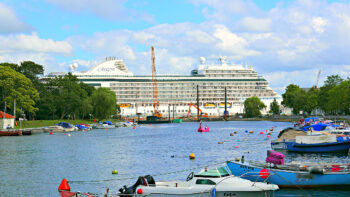 One of the reasons to Reasons to Cruise with Regent Seven Seas is the ship is often able to docks near port cities to allow easy exploration, such as in Rostock Germany at the Warnemünde Cruise Center