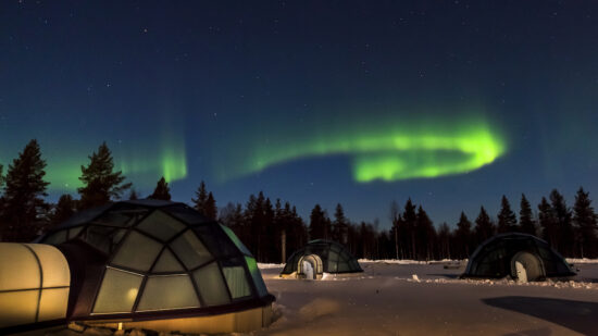 Glamping under the Northern Lights, happy in Finland