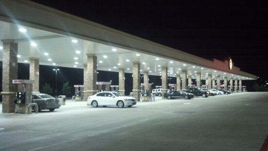 hundreds of gas pumps at Texas buccees