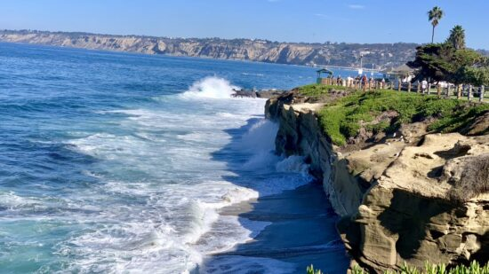 Fun things to do in La Jolla with kids: watch breaking waves at La Jolla Cove.
