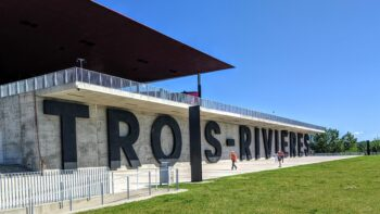 Sign along the St. Lawrence River in Trois-Rivieres Canada