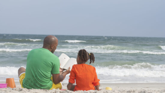 Reading at the beach.