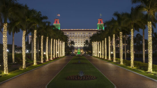 Finding a White Christmas hotel doesn't have to mean snow. The Breakers Palm Beach welcomes the holidays with white sand.