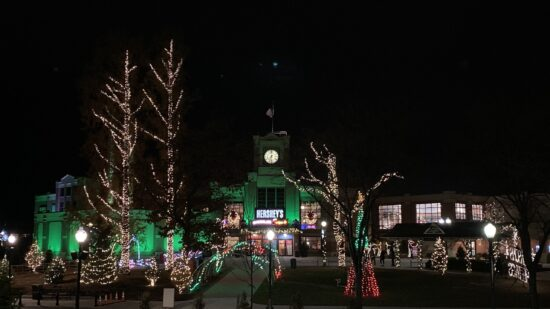Hersheypark at Christmas all lit up in the dark