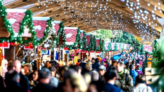 Crowds at a European Christmas market.