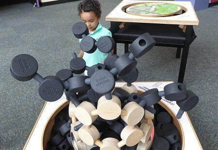 A toddler at the Pacific Science Center in Seattle