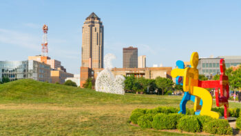 Des Moines sculpture park with the skyline in the background.