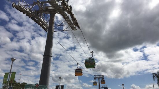 gondolas on Disney's Skyliner traveling along wires with clouds in background