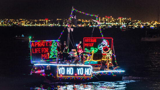 Boat in San Diego decorated with Christmas lights
