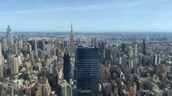 View of New York City from an outdoor observation deck.