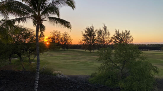 sunset over the golf course at kings land by hilton grand vacations