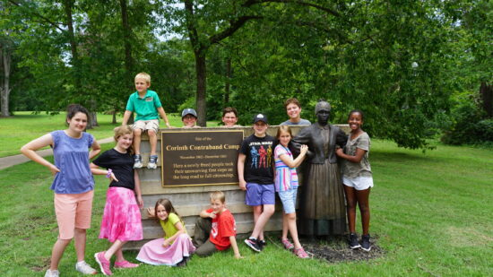 cousin camp ideas- Cousins at a historical site in Corinth, MS.