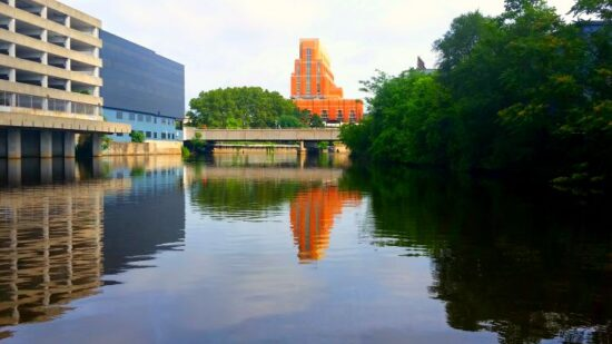 Downton view of Lansing MI from Grand River