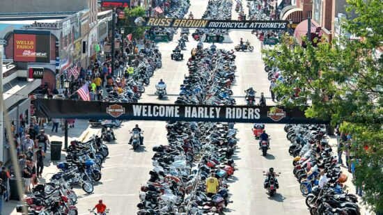 Thousands of motorcycles lining the streets of Sturgis SD during the massive Motorcycle Rally