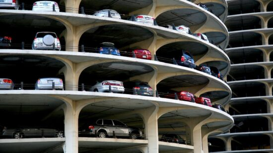 Photo of Marina City parking in Chicago by Vincent Desjardins via Wikimedia Commons